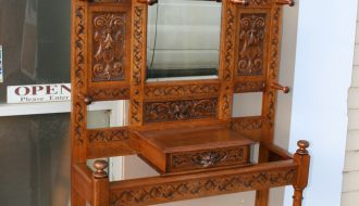 Highly carved oak hallstand 1