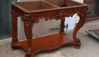 Highly Carved Cedar Hall table 2