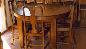 round oak Table and chairs 53